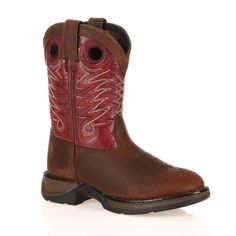 Lil Durango Full Grain Raindrop Kids' 8-in. Cowboy Boots, Kids Unisex, Size: 11.5, Red