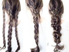 Combine 3 braids to make one big messy braid