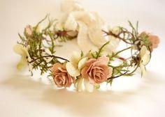 Dainty VINTAGE Wedding Headdress-Flower Girl Crown-Woodland Bridal Crown-MIRIAM  This feminine vintage style headdress is perfect for the rustic woodland bride.
