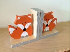 Your child will love to organize their favorite books with their fox friends bookends. DIMENSIONS: 12(combined width) x 7 tall x 3 1/2 deep