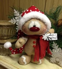 "Primitive HC Holiday Christmas Doll Gingerbread Man Snowman 7.5"" Super Cute! #IsntThatCute #Christmas"
