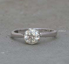 OEC Moissanite Solitaire Ring / 1.00 CT Near Colorless Solitaire Diamond Ring / Unique White Gold Rings For Women / Anniversary Ring For Her #MoissaniteSolitaireRing #RoundCutMoissaniteRing #ArgentiumSilverRing #EngagementRing #Moissanite #RoundMoissanite #Engagement #DiamondEngagement #DiamondSilverRing #SilverRing #MoissaniteRings #EngagementRings #PromiseRing#EngagementRing #SterlingSilverRing #WhiteGoldRing #StackingRing #AnniversaryRing #SolitaireMoissanite #RoundMoissanite #RoundCut Wedding Rings Solitaire, Silver Wedding Rings, Diamond Solitaire Rings, Engagement Rings, Unique Diamond Rings, Unique Rings, Gold Ring Photo, Anniversary Rings For Her, Solid Gold Jewelry