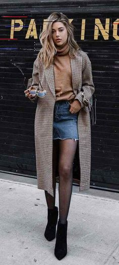 Trendy Ideas Skirt Outfits For Winter Tights Fall Chic Winter Outfits, Winter Skirt Outfit, Winter Dresses, Skirt Outfits, Plaid Outfits, Dress Winter, Casual Outfits, Summer Outfits, Summer Dresses