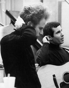 Paul Simon and Art Garfunkel at Columbia Records, New York City, NY. 1967. Photo by Michael Ochs