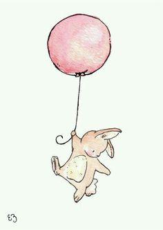 Floating Bunny and Balloon. PRINT Nursery Art Home Decor Bunny and balloon Illustration Mignonne, Cute Illustration, Balloon Illustration, Animal Drawings, Cute Drawings, Lapin Art, Art Mignon, Printed Balloons, Bunny Art