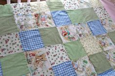 Sweet Beatrix Potter patchwork quilt with white minky on back. It has a mixture of rare and out of print and delightful Beatrix Potter fabrics featuring so many beloved characters! It is a rare treat and is sure to be the center of attention in any room! Perfect for floor time! It is simply adorable! The quilt has high loft batting which gives it warmth and but softness. I have hand tied with pale green embroidery thread. Measures: 31 by 41 Perfect for: Baby Nursery Cuddle Blanket Floor t...