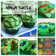 Surprise Ninja Turtle Cupcakes