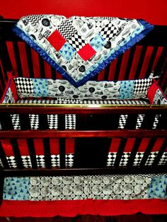 baby boy bedding Black white red and blue travel themed hot air balloons, sail boats, planes, trains cars and zeppelins baby bedding, steampunk infused crib set by TarteLabelCouture
