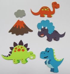 This item is unavailable Dinosaur Cupcake Toppers, Dinosaur Birthday Cakes, Dinosaur Cake, Boy Birthday, Felt Crafts, Diy And Crafts, Crafts For Kids, Paper Crafts, Dinosaur Invitations