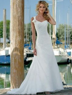 White One Shoulder Chiffon Satin Beach Wedding Dresses - Wedding Dresses