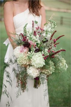 Very Unique Oversized Wedding Bouquet: White & Green Hydrangea, Pink Roses, Red Heather(?), Burgundy Scabiosa, White Snapdragons, Berries, Greenery & Foliage