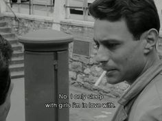 """Le Petit Soldat (1963)   """"No. I only sleep with girls I'm in love with."""""""