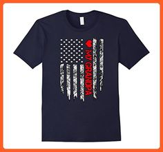 Mens Firefighter flag shirt - Love My Firefighter Grandpa tee Large Navy - Relatives and family shirts (*Partner-Link)