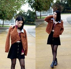 Get this look: http://lb.nu/look/8890281  More looks by Adriana R.: http://lb.nu/thefancycats  Items in this look:  Rosegal Brown Cropped Jacket, Chic Me Zipper Wine Red Top, Black Faux Suede Skirt, Ebay Faux Suede Brown Choker   #casual #chic #street #fall #autumn #weather #girl #outfit #blogger