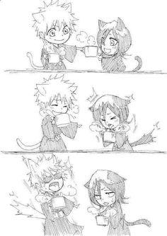 Bleach Ichigo And Rukia, Kuchiki Rukia, Bleach Anime, Bleach Couples, Bleach Fanart, Shinigami, Manga, Neko, Cute Couples