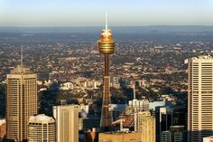 Sydney Tower----Located in the centre of Sydney CBD, the Sydney Tower Eye is hard to miss – it resembles a giant steel pole skewering a golden marshmallow. The tallest building in Sydney and the second tallest building in the Southern Hemisphere the Sydney Tower has a design capable of withstanding earthquakes and extreme wind. Aka Centrepoint Tower, Sydney Tower was conceived as part of the original 1970s Centrepoint shopping centre, but was not completed until 1981.