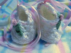 Infant  Booties White Hand Made For Christening With Rosette and Leaf | Wyverndesigns - Children's on ArtFire