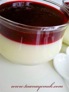 Malzemeler: - 1 litre süt - 4 küçük kahve fincanı şeker - 1 fincan nişasta - 1 fincan un - 1 kase vişne - 1 veya ...