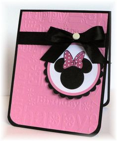 ideas baby cards handmade girl minnie mouse for 2019 Kids Birthday Cards, Handmade Birthday Cards, Diy Birthday, Minnie Birthday, Disney Scrapbook, Scrapbook Cards, Baby Cards, Kids Cards, Minnie Y Mickey Mouse