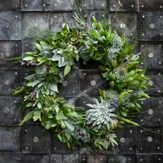 Beautiful Fragrant Wreath: Bay leaves, Lavender, Rosemary, and Succulents.