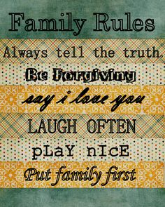 family rules printable