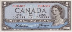 Canadian Banknotes 5 Dollars banknote 1954 Queen Elizabeth II Rare Coins Worth Money, Valuable Coins, Canadian Coins, Canadian Dollar, Fake Money Printable, Writing Motivation, Euro Coins, Coin Worth, Old Money