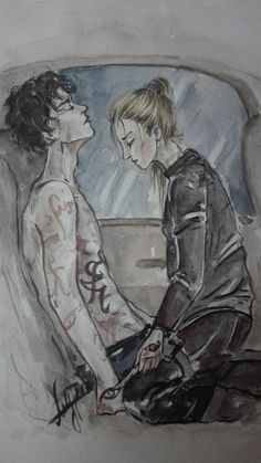 "Lady Midnight Challenge «art» -day 8- favourite emma + julian moment When Emma healed Julian in the car with the ""powerful parabatai iratze""… *open the pic for a better quality* xxx"