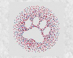 Paw cross stitch pattern printable dog paw silhouette cat