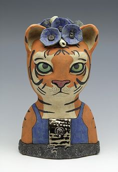 Tiger Baby with Blue Flowers