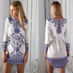 White Long Sleeve Print O-Neck Vintage Tunic Dress - FashionandLove.com
