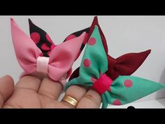 Diy Hair Bows, Diy Bow, Fabric Ribbon, Ribbon Bows, Bow Template, Baby Hair Clips, Paper Crafts Origami, Flower Hair Accessories, Bow Tutorial