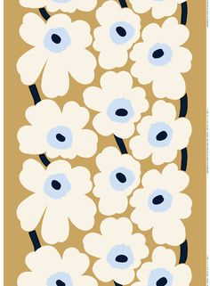 Marimekko's Unikko fabric features Maija Isola's iconic floral pattern in beautiful shades of beige, off-white and light blue. The fabric is made of a cotton-linen blend and it has been printed in Finland. Marimekko Wallpaper, Marimekko Fabric, Textile Patterns, Textile Design, Print Patterns, Floral Patterns, Linen Fabric, Cotton Linen, Surface Pattern Design