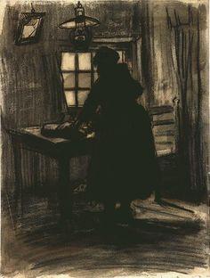 Vincent van Gogh: Woman Cutting Bread,  Nuenen: March-April, 1885 (Amsterdam, Van Gogh Museum)  F 1219, JH 720