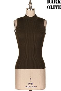MOCK NECK KNIT SLEEVELESS TOP   #23D-TK7768E