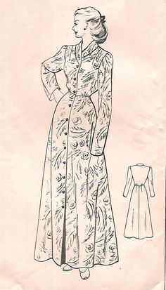 Vintage 1950 s Sewing Pattern Women s House Coat Robe Dressing Gown Bust  38