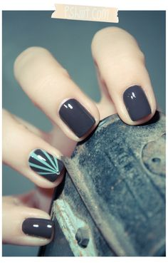 """Bourjois So Laque! in """"Bleu Asphalte"""", a creamy grey/blue/mauve. Accent nail done with scotch tape, Essie in """"Turquoise and Caicos"""" and a small, round nail jewel."""