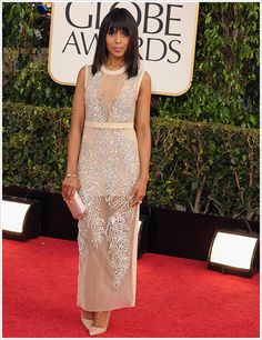 Kerry Washington was stunning in her Miu Miu dress! Nice touch w/ the vintage Movado watch Ker! #2013 #GoldenGlobes