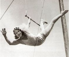 Agnes Doss on the single trapeze with Sells-Floto, 1930.