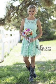Wedding Ideas: Lovely Lace Bridesmaid in Seafoam | An amazing short bridesmaid dress with boots for your country wedding!