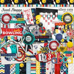 Alley Cats Digital Scrapbooking Kit by Traci Reed - let's go bowling!