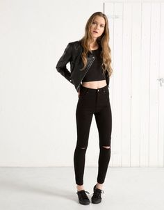 BSK basic high waist twill trousers - Basics - Bershka South Korea