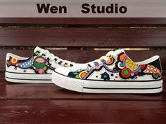 I Love Colorful Floral Inspired Design Custom Floral Shoes Hand Painted Shoes,Local Brand Canvas Shoes,Painted Custom Shoes Birthday Gifts