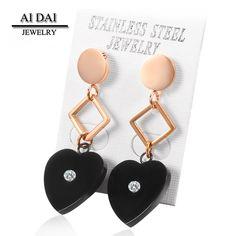 Stainless Steel Black-Tone Love Heart White crystal Dangle Drop Womens Earrings