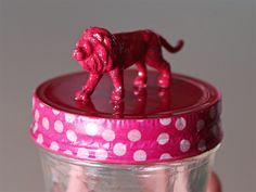 DIY : détournement de pots Jars [Super Happy Youpi Time] - Purple Jumble  customisation pot jars masking tape animaux DIY tuto decoration