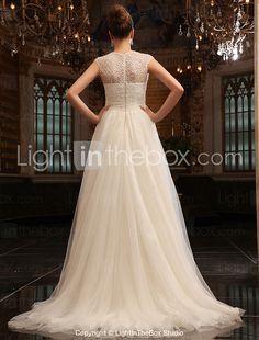 una línea-jewelsweep / tren cepillo de tul vestido de novia - USD $ 775.99