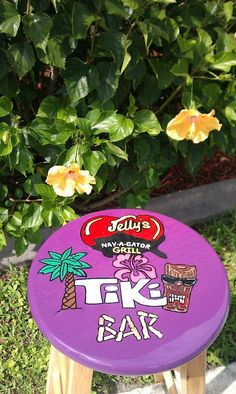 Personalized for a customer- 'Jelly's Tiki Bar' Barstool