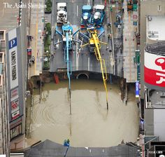 "Фобос.HUGE Sinkhole in Fukuoka (Japan) Scale sinkhole on the road not far from the major railway station ""Hakata"" in the Japanese city of Fukuoka has led to the disruption of the banking system in the area. This was reported on Tuesday, Kyodo reported."