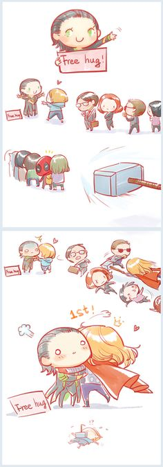 Thor is always first for the Loki hugs