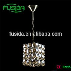 European indoor pendant light with glass and crystal