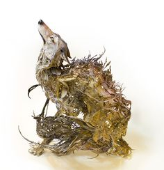 hungry enough to devour the world - coyote / wolf / dog /fall leaves surrealist sculpture by Ellen Jewett